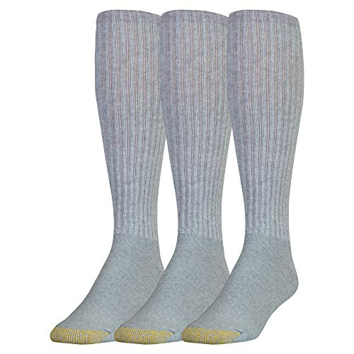 Gold Toe Men's Ultra Tec Performance Over-The-Calf Athletic Socks, 3 Pairs, Grey Heather, Shoe Size: 6-12