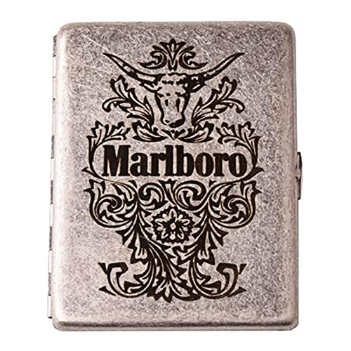 XIAOLINGTONG Zigarettenetui Reines Kupfer Feuchtigkeits- Und Druckfest Antikes Silbermuster Männliche Und Weibliche Zigarettenschachteln Für 12 Zigaretten (Color : Silver, Size : Marlboro 2)