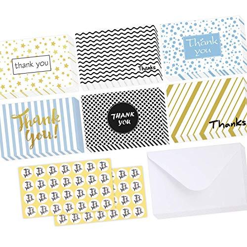 48 Stück Dankeskarten, Ohuhu Dankeschön Grußkarten, leere Grußkarten mit Umschlägen und Dankeschön-Aufkleber für Abschlussfeier, Babyparty, Business, 6 Design