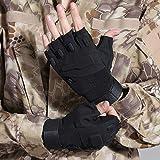 Pomety Half Finger Tactical Gloves, Herren-Halbfinger-Fingerlose Outdoor-Sport-Arbeitshandschuhe Camping Wandern Cross Country Bike Reiten Cross Country-Handschuhe (Color : Black, Größe : M)