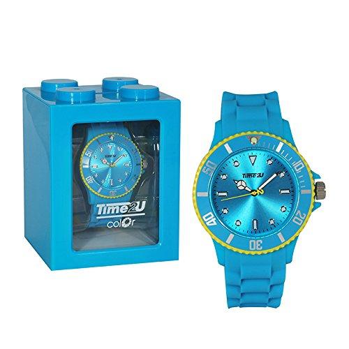 Colour-Bags Home & Living 1x Armbanduhr | Gehäuse 34 mm |Trendfarbe Baby-Blau & Gelb | Silikonarmband | Herrenuhr | Damenuhr | Kinderuhr | Sportuhr | Lifestyle-Uhr