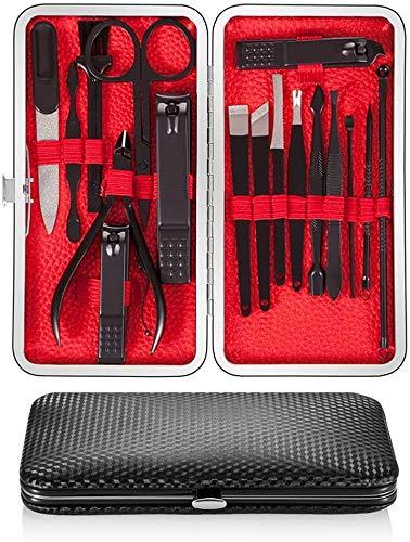 Newdora Kit Manucure Pedicure, Coupe-ongles 17 pièces Set de voyage Ciseaux à ongles en Acier Inoxydable, Soins des Ongles avec étui en Cuir