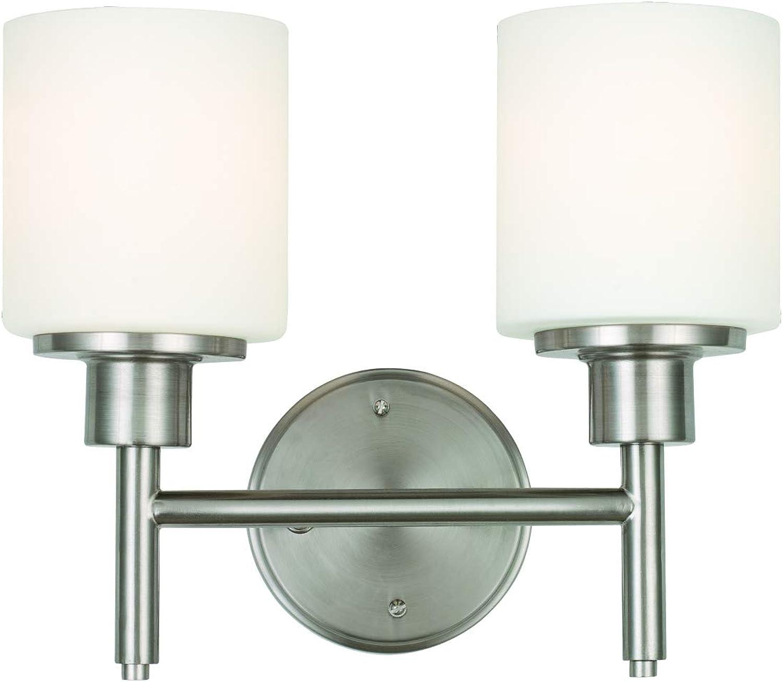 Design House 587378 Aubrey 2-Light LED Vanity Light, Satin Nickel