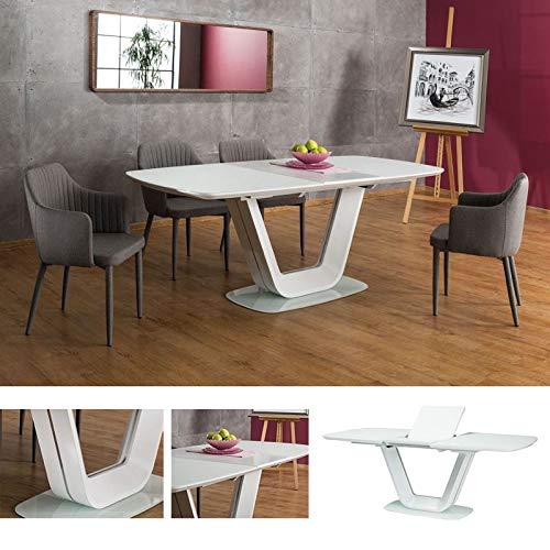 MHF Armani Ausziehbarer Tisch 140 - 200 cm gehärtetes Glas Weiß Matt Modern