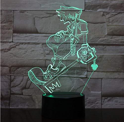 Wangzhuoyue Figure Chevet Usb 3D Led Veilleuse Multicolore Lumières Décoratives Garçons Enfants Bébé Cadeaux Jeu Kingdom Hearts Lampe De Table