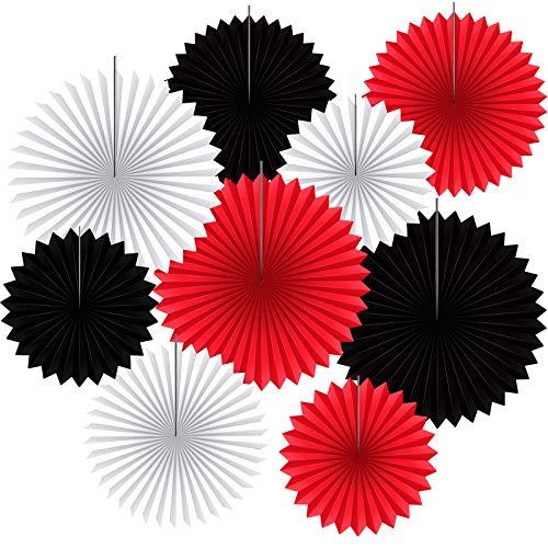 9 Abanicos de Papel Colgantes Guirnaldas de Papel Decorativas Redondas Telón de Fondo de Colgante Cabina de Fotos para Decoración de Fiesta Boda Cumpleaños Celebración, Negro, Rojo, Blanco
