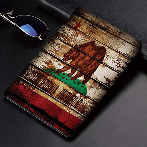 Case for iPad (9.7-Inch, 2018/2017 Model, 6th/5th Generation)Ultra Slim Lightweight Smart Cover,Flag,Grunge California Flag on Rustic Boards Grunge Weathered Design,Blue R,Smart Covers Auto Wake/Sleep