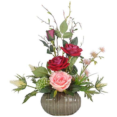 Falsas Plantas de Seda Artificial Rose Ramo de la Flor en crisol de cerámica for el hogar, Oficina, Cocina, Cuarto de baño Decoración
