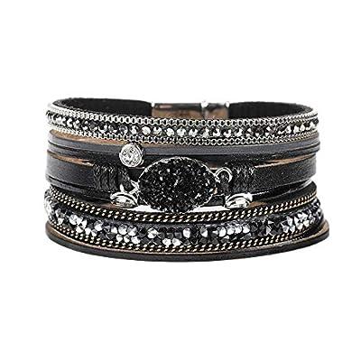 Multi-Layered Leather Wrap Bracelet - Stackable Handmade Boho Wrap Charm Bracelet Cuff Bangle Chunky Wrap Around Bracelet Inlaid Rhinestone with Magnetic Buckle Fashion Gift for Women, Girls