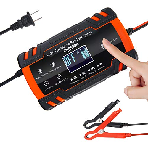 Keador Automatic Smart Battery Charger, 12V/8A 24V/4A Automatic Smart Battery Maintainer, Pulse Repair Charger with LCD Digital Display for Car, Truck, Motorcycle, Boat, SUV, ATV (Red)