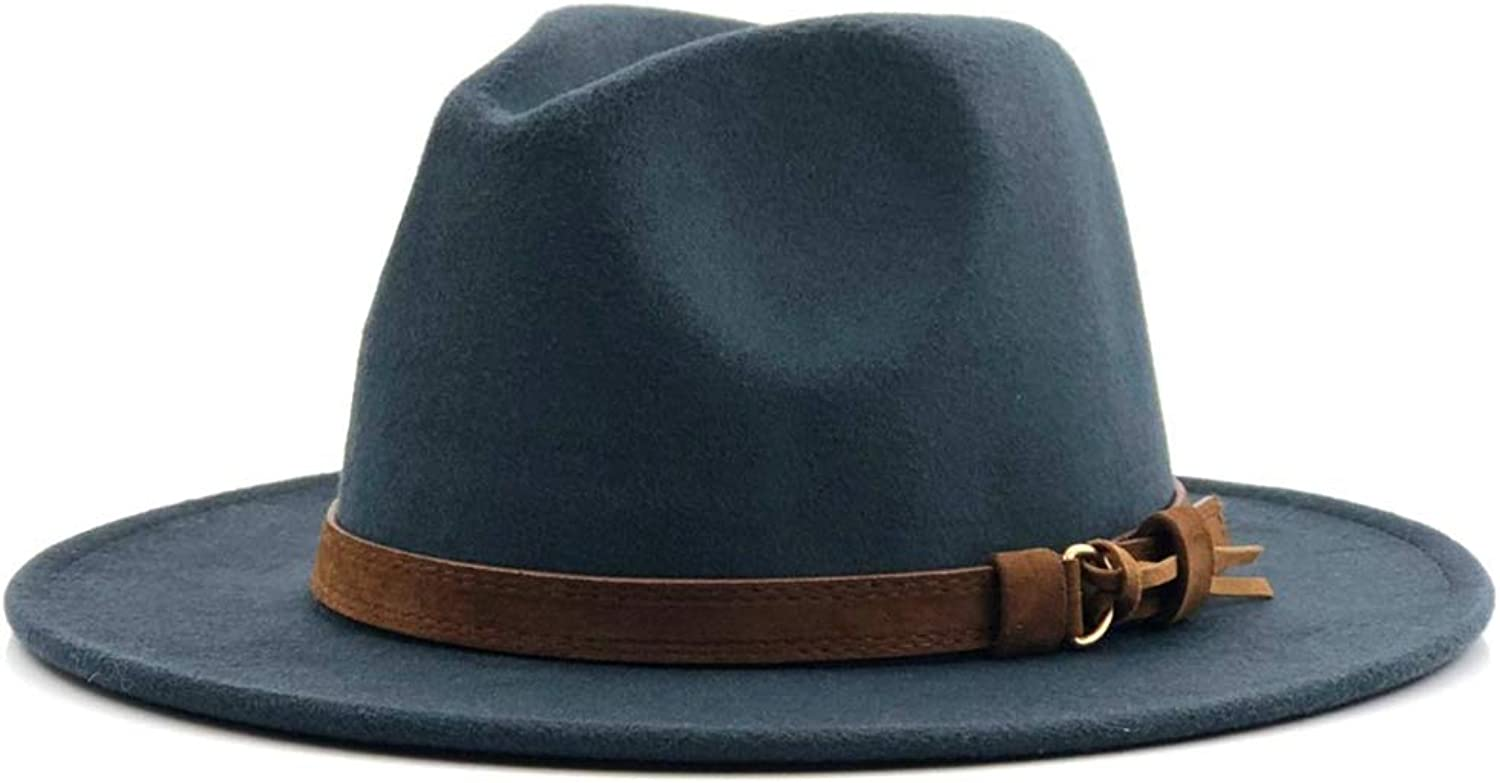 758c08560af SANOMY Unisex Elegant Fedora Hat with with with Leather Ribbon Gentleman  Wide Brim Jazz Cap d65176