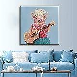 Impresión en HD Guitarra Cerdo Animales Póster e impresiones Sala de estar Casa Decoración de la pared Arte Decoración del hogar Imagen Obra de arte 80x80cm sin marco