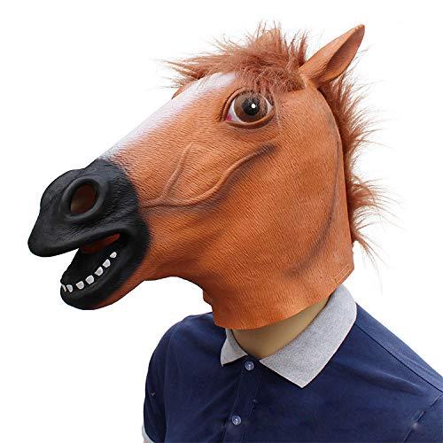 Nouveauté Deluxe Halloween Costume Party Latex Masque Animal Tête M Masque Tête De Cheval Noir Halloween Masquerade Show Mignon Masque Animal Naturel en Latex,Marron