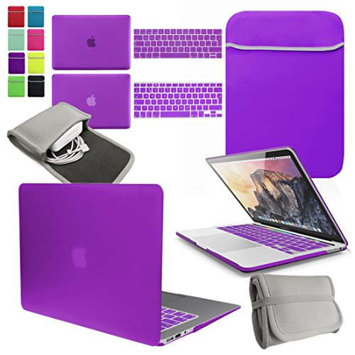 LOVE MY CASE / BUNDLE DEEP PURPLE Hard Shell Case with matching KEYBOARD Skin, NEOPRENE Cover and Charger Sleeve Pouch for 15-inch Apple MacBook Pro WITH TOUCH BAR (2016 model) (model number: A1707)