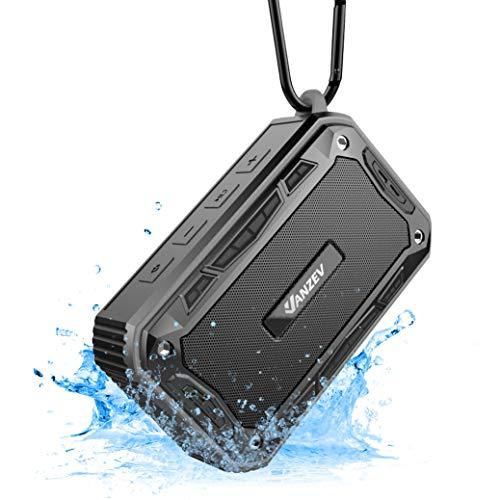 VANZEV Tragbare Bluetooth Lautsprecher Boxen Wasserdicht mit FM Radio Eingebautem Mikrofon, Top für Fahrrad-Fahren Party Strand Reise PC Outdoor Dusche iPhone Samusng, Schwarz
