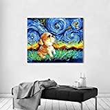 yhyxll Nordic Wall Art Canvas Painting Pictures Print on Canvas Animal Print Starry Night Dog para Sala de Estar Decoración para el hogar Sin Marco D 40X50CM