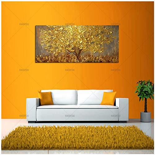 Coltello dipinto Albero d'oro Pittura a olio su tela Grandi dipinti a tavolozza per soggiorno Quadri astratti moderni con pareti astratte -40x120 cm Senza cornice