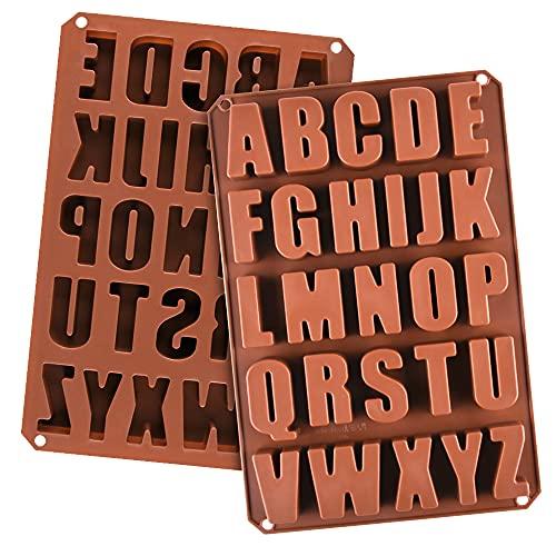 2pcs Large Letter Molds Silicone Alphabet Mold for Crayon, Cake Baking Decor (2)