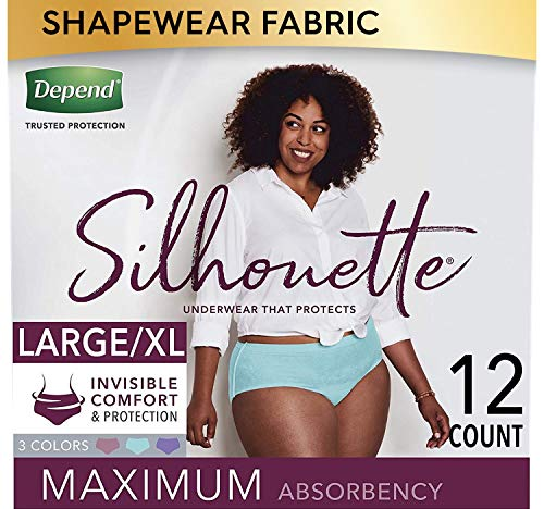 Depend Silhouette Incontinence and Postpartum Underwear for Women, Maximum Absorbency, Disposable, Large/Extra-Large, Lavender/Teal/Berry, 12 Count