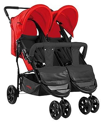 Asalvo Dinamic - Silla de paseo doble, color rojo