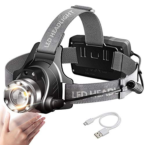 Zoomable LED Head Torch Headlamp MALLSTAN IR Motion Sensor USB Rechargeable Headlight Waterproof Helmet Light 90 Rotatable Adjustable Head Lamp with Red Safety Light for Runners Fishing Cycling