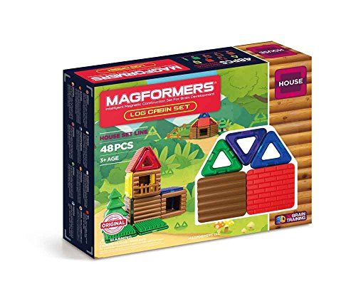 Magformers Log Cabin 48 Pieces Rainbow Colors, Educational Magnetic Geometric Shapes Tiles Building STEM Toy Set Ages 3+