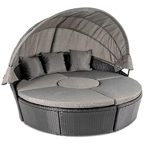 di volio Polyrattan Sonneninsel Milano - Garteninsel mit faltbarem Sonnendach & Hocker-Tisch im exklusiven Rattan-Design inkl. Zwei Fleecedecken