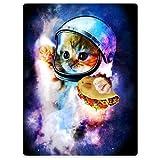 TSlook Throw Blankets Fleece Blanket for Sofa Bed Funny Cat Astronaut Nebula Galaxy Pancake 50' x 80'