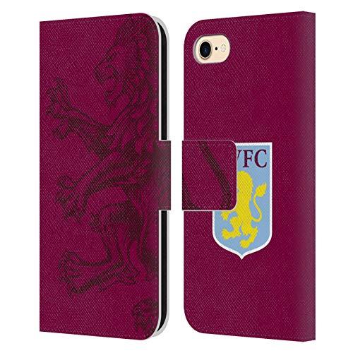 Head Case Designs Offiziell Zugelassen Aston Villa Football Club Uebergrosser Loewe Wappen Leder Brieftaschen Handyhülle Hülle Huelle kompatibel mit Apple iPhone 7 / iPhone 8 / iPhone SE 2020