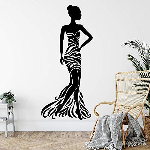 ANNB Damenmode Haute Couture Wandtattoo Mädchen Kleidung Studio Kleid Stil Shop Afrikanische Frau Mode Braut Damen Wandaufkleber Vinyl 92x42cm