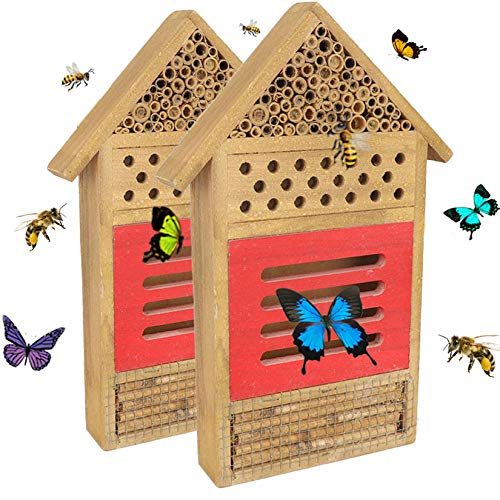 Hamiledyi Wooden Insect Bee House Hand-Made Hanging Bee Hotel Butterfly Habitat for Ladybugs, Bee, Butterfly, Beetle Outdoor Garden Decorative