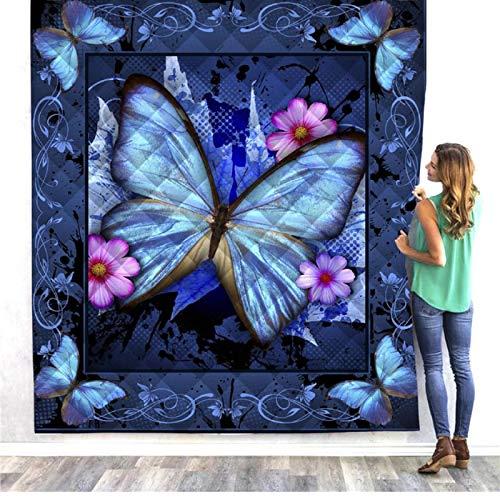 Colcha con estampado de mariposa azul, ropa de cama mullida, colcha, manta suave y cálida, edredón, viaje, camping, manta de picnic, aire acondicionado, manta para la rodilla, 130 * 150 cm