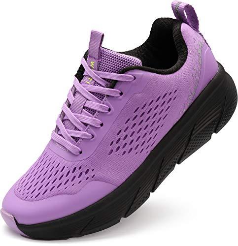WHITIN Damen Laufschuhe Turnschuhe Traillaufschuhe Sportschuhe für Frauen Mädchen Workout Zumba Schuhe Joggingschuhe Walkingschuhe Outdoor Herbst Neon Winter Lila gr 42 EU(43 Asien)