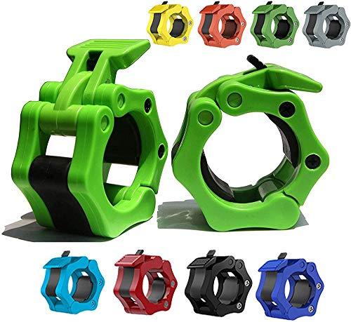 バーベルクランプ50mm、オリンピックバークリップ、ワークアウトウェイトリフティングフィットネストレーニング用のロック50mmバーベルカラーのクイックリリースペア(1ペア),ライトグリーン