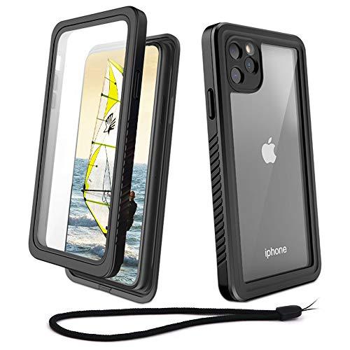 Beeasy Funda iPhone 11 Pro MAX Antigolpes,IP68 Certificado Sumergible Carcasa,360 Grados Protección con Protector de Pantalla Incorporado,Estanca Impermeable Militar Antichoque Antipolvo,Negro