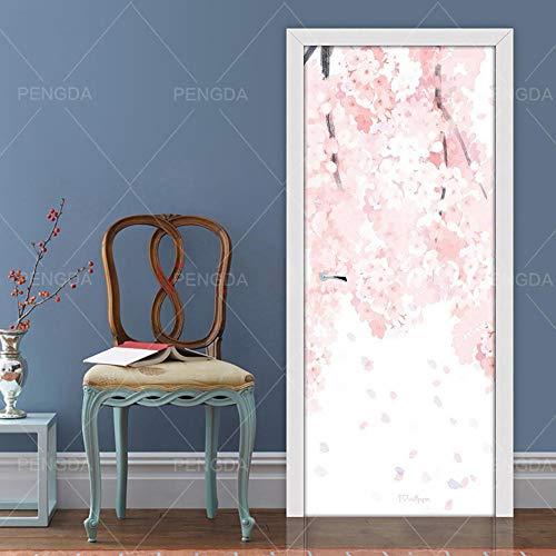 JBMTH 3D Türposter Selbstklebend Rosa Abstrakte Blume Türposter Türfolie Poster Tapete Home Mädchen Schlafzimmer Entfernbare Tapete Kinderzimmer Wohnzimmerbüro-Stangentür-Kunstdekoration95x215CM