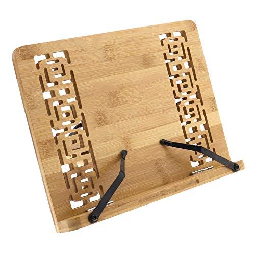 Soporte para libros de cocina de bambú de 11 x 7,9 pulgadas, duradero para libros de texto, portátil, revista, receta, 28 x 20 cm