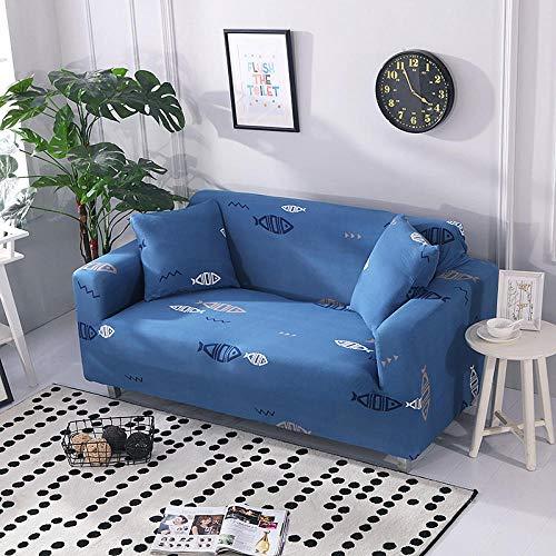 Funda Sofá 145-185 cm con Funda de Cojín de 2 Piezas 45x45 cm (Pack de 3), Poliéster Stretch Cubre Sofá Funda Protector Antideslizante Sofa Couch Cover (Pez de Dibujos Animados/2 Asientos)