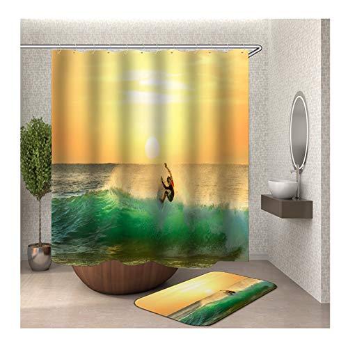 Epinki Duschvorhang & Badezimmerteppich Set Waschbar aus Polyester 3D Digitaldruck Surf Junge Muster Badewanne Vorhang Bad Teppich Bunt mit 12 Duschvorhangringen für Badewanne - 90x180CM