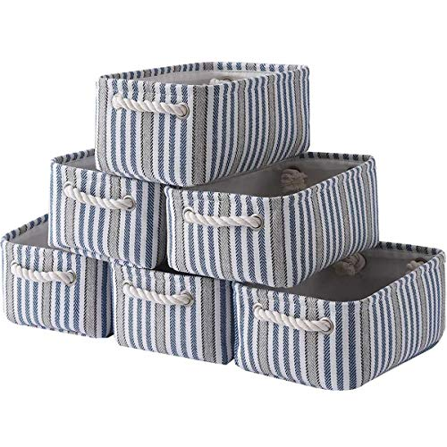 Sacyic Small Storage Baskets for Shelves, Fabric Storage Baskets for Closet, Rectangular Collapsible Baskets for organizing Clothes, Toys, Books, Gifts [6-Pack, Pinstripe]