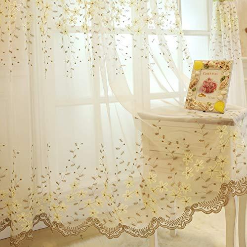 SILOLA Stickerei Vorhang, europäischen idyllischen Stil Gardinen Bestickt Schiere Fenster Flower Design Tülle Vorhänge Fenster Voile Panels/drapieren/Behandlung für Schlafzimmer Wohnzimmer