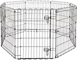 AmazonBasics Foldable Metal Pet Dog Exercise Fence Pen With Gate - 30 Inches (76 cm)
