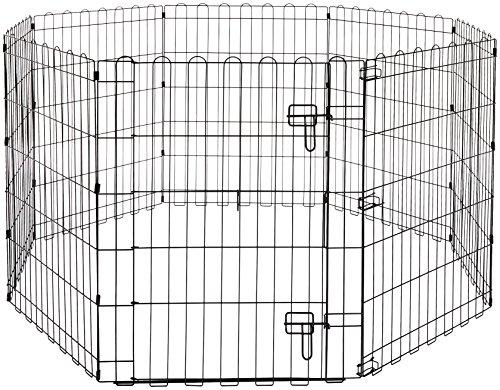 Amazon Basics - Recinzione in metallo per cani, pieghevole, per l'esercizio, 152,4 x 152,4 x 76,2 cm