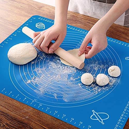 OKeanu Silicone Baking Mat with Measurements, Pastry Rolling Mat, Cooking Mat Professional Non Stick Liner for Making Cookies, Macarons,Bread and Pastry(16x20)