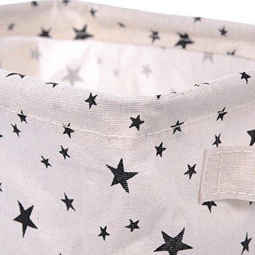 nabati Mini paniers de rangement carrés pliables en tissu de lin et de coton pour étagères et bureaux Noir et blanc