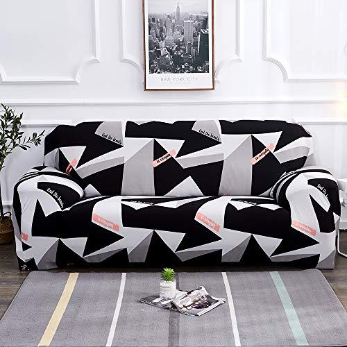 Souarts Sofabezug elastische Stretch Sofaüberwurf Sofa Couch Sessel Husse Bezug Decke Sofabezüge 1/2/3/4 Sitzer (2 Sitzer, Schwarz Weiss)