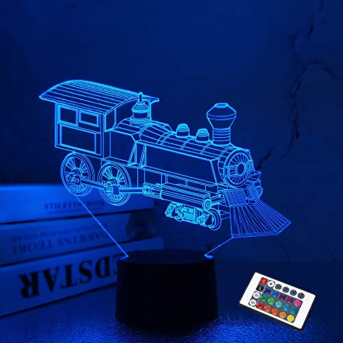 Train Night Light, 3D Illusion Lamp for Kids, 16 Colors Changing with Remote Control Dim Function, Creative Birthday Xmas Gifts for Kids Boys Bedroom Decor