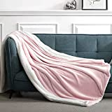 Suchtale Sherpa Fleece Blanket(Throw Size 50×60' Pink) Plush Throw Fuzzy Super Soft Reversible Microfiber Flannel Blankets for Couch, Bed, Sofa Ultra Luxurious Warm and Cozy for All Seasons