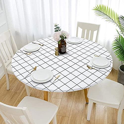 Mantel de Mesa Impermeable MantelRedondo Simple sobre la Mesa Cubierta de la Mesa Cocina para el hogar Mesa de Comedor Boda Decoración navideña, 1,80cm (Adecuado 60cm)