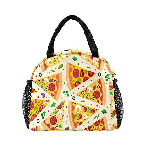 Divertido triángulo Pizaa patrón de huevo de seta bolsa de almuerzo para mujer con aislamiento personalizado reutilizable caja de almuerzo térmica enfriador bolsa para el trabajo picnic